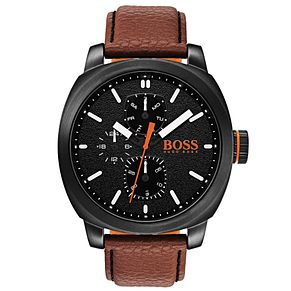 Boss Orange Men's Brown Leather Strap Watch - Product number 8104670
