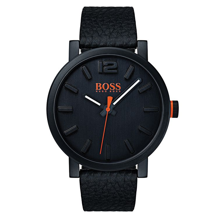 Boss Orange Men's Black Leather Strap Watch - Product number 8104727