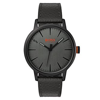 Boss Orange Men's Black Leather Strap Watch - Product number 8104794