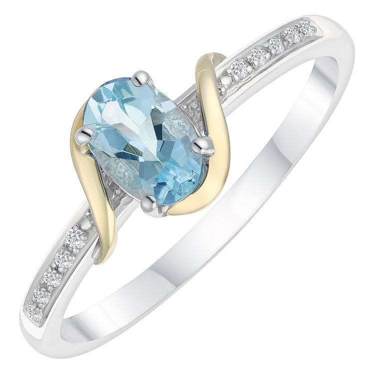 Sterling Silver & 9ct Gold Diamond & Aquamarine Ring - Product number 8105065