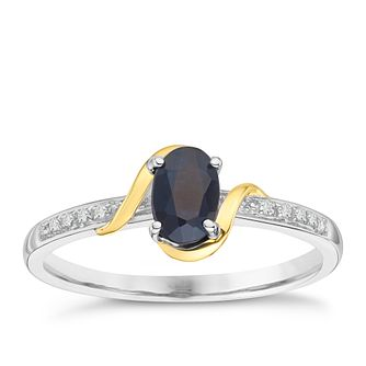 Silver & 9ct Gold Sapphire & Diamond Ring - Product number 8105200