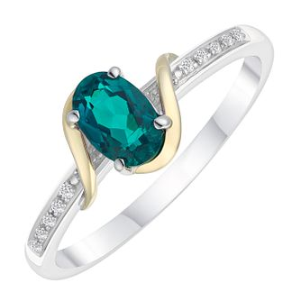 Sterling Silver & 9ct Gold Diamond & Created Emerald Ring - Product number 8105502