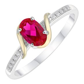 Sterling Silver & 9ct Gold Created Ruby & Diamond Ring - Product number 8105642