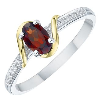Sterling Silver & 9ct Yellow Gold Garnet & Diamond Ring - Product number 8105774