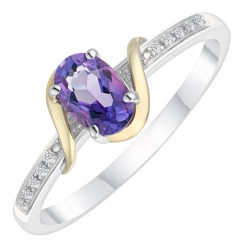 Sterling Silver & 9ct Gold Diamond & Amethyst Ring - Product number 8105901