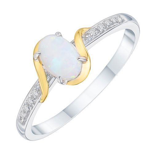 Sterling Silver & 9ct Gold Opal & Diamond Ring - Product number 8106037