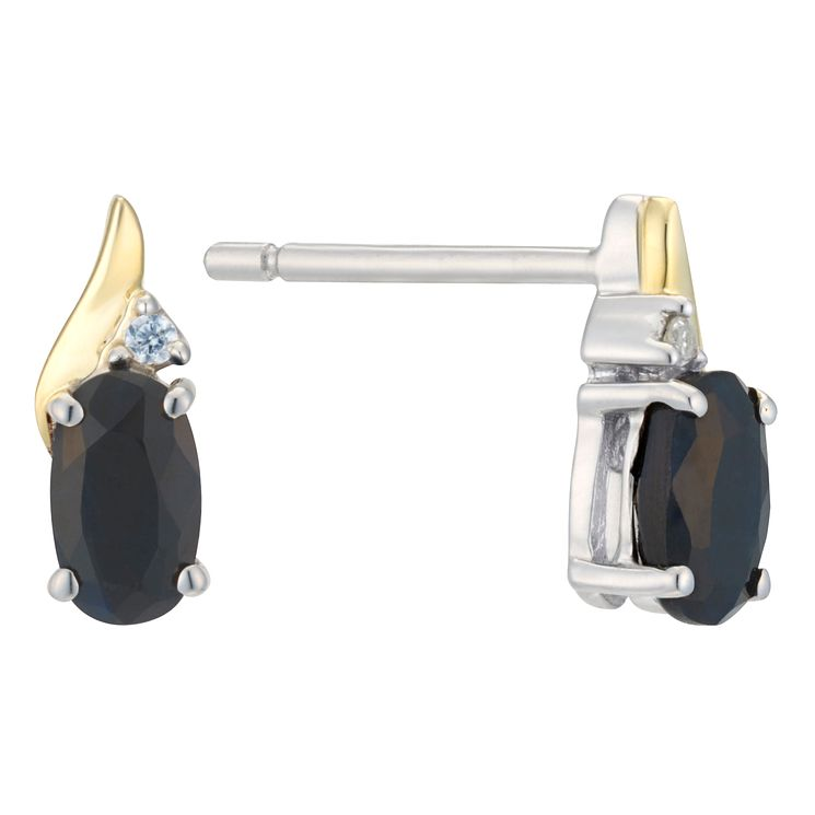 Silver & 9ct Gold Sapphire & Diamond Earrings - Product number 8106606