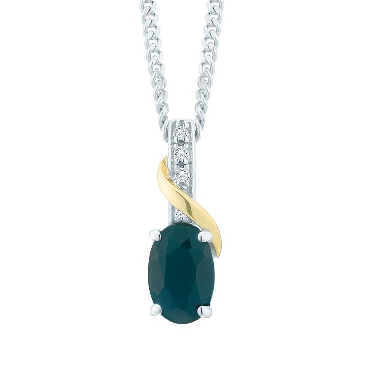Silver & 9ct Gold Sapphire & Diamond Pendant Necklace - Product number 8106738