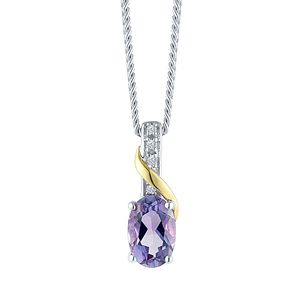Sterling Silver & 9ct Gold Diamond & Amethyst Pendant - Product number 8106789