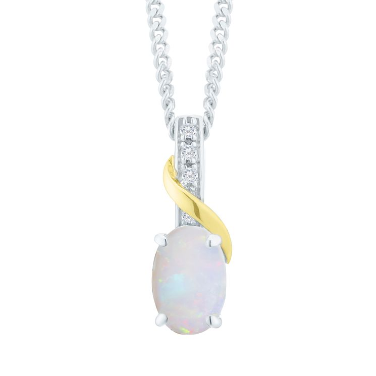 Sterling Silver & 9ct Gold Opal & Diamond Pendant - Product number 8106797