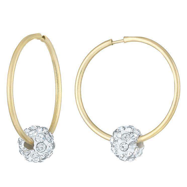 9ct Yellow Gold Crystal Slide Tube Hoop Earrings