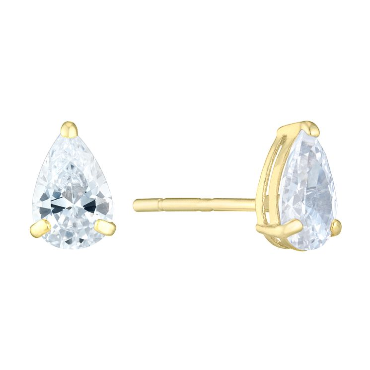 9ct Yellow Gold Pear Shaped Cubic Zirconia Stud Earrings - Product number 8106886