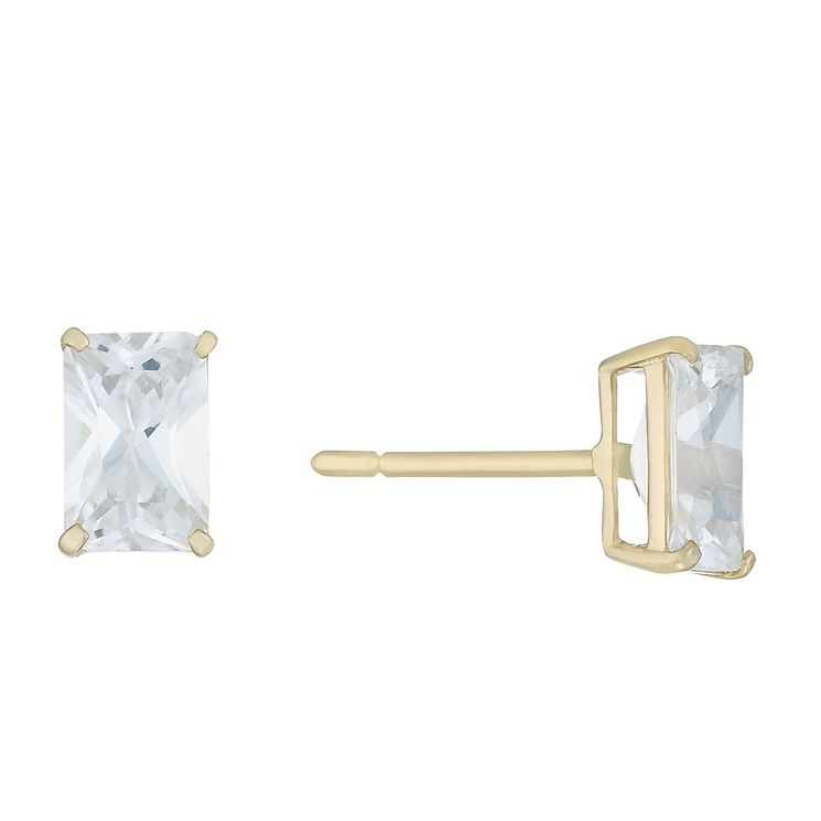 9ct Yellow Gold Emerald Cut Cubic Zirconia Stud Earrings - Product number 8106894