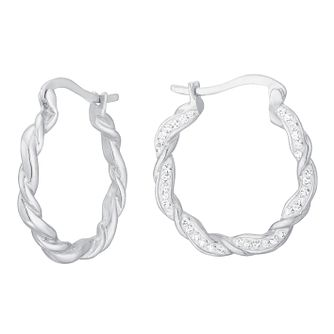 Evoke Silver Crystal Twisted Creole Earrings - Product number 8108323