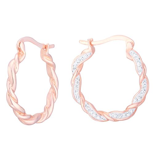 Evoke Rose Gold Plated Crystal Twisted Creole Earrings - Product number 8108331