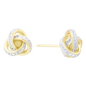 Evoke Silver Gold Plated Crystal Knot Stud Earrings - Product number 8108358