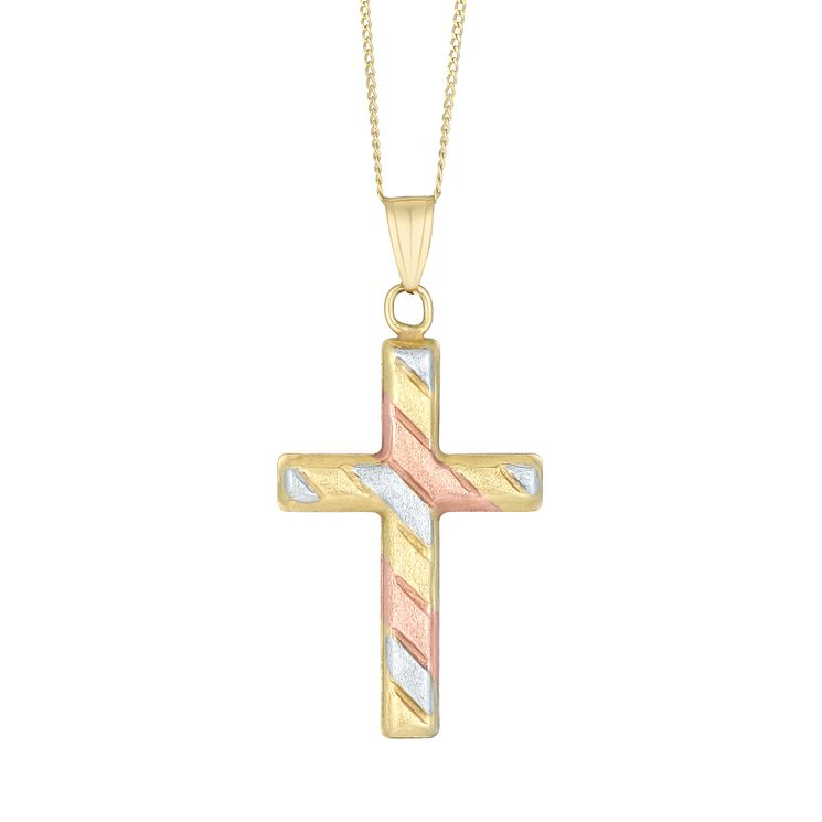9ct Three Colour Gold Satin Cross Pendant - Product number 8108382
