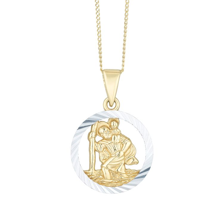 9ct Yellow Gold & White Gold Open St Christopher Pendant - Product number 8108390