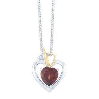 Sterling Silver & 9ct Yellow Gold Garnet Heart Pendant - Product number 8108404