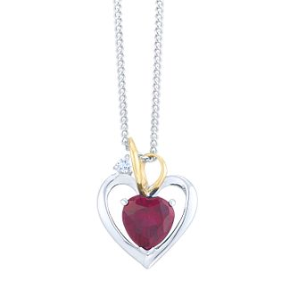 Ruby Gemstone Heart Sterling Silver Pendant + Long Chain gQUUda9M9L