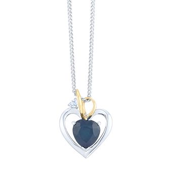 Sterling Silver & 9ct Yellow Gold Sapphire Heart Pendant - Product number 8108420