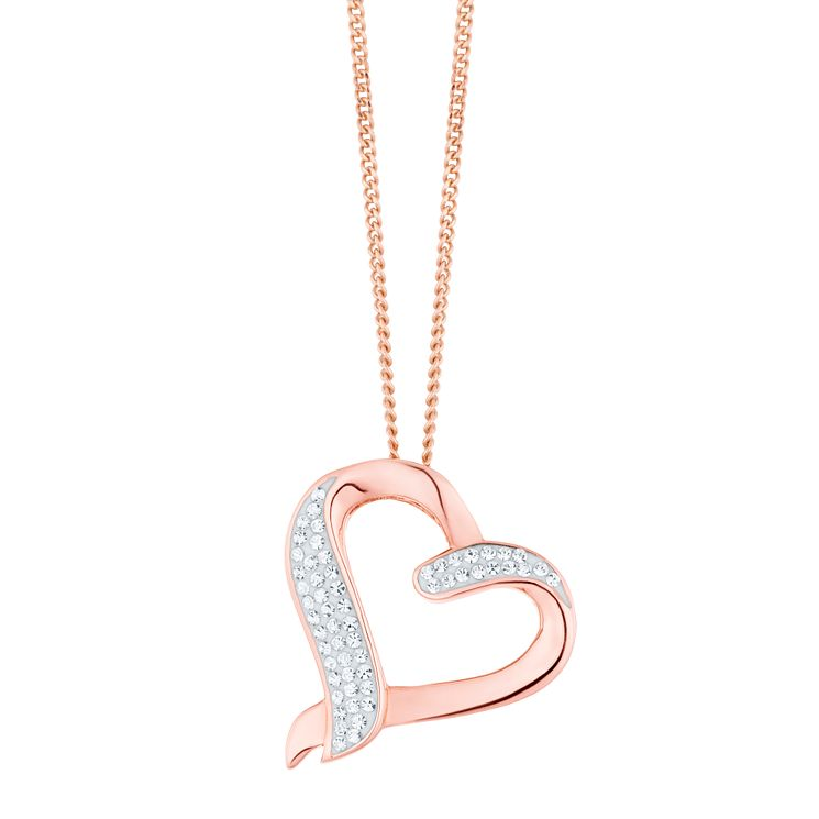 Evoke Rose Gold Plated Crystal Heart Pendant - Product number 8108439