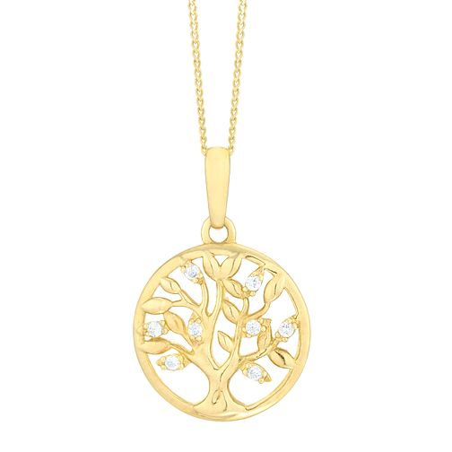 9ct Yellow Gold Cubic Zirconia Tree of Life Design Pendant - Product number 8108463