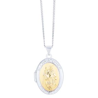 Sterling Silver & 9ct Gold St Christopher Locket - Product number 8108560