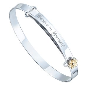 Children's Sterling Silver & 9ct Gold Expandable Bangle - Product number 8108609