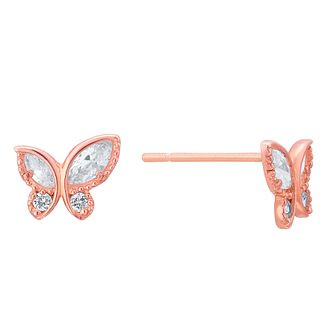 9ct Rose Gold Cubic Zirconia Butterfly Stud Earrings - Product number 8108617