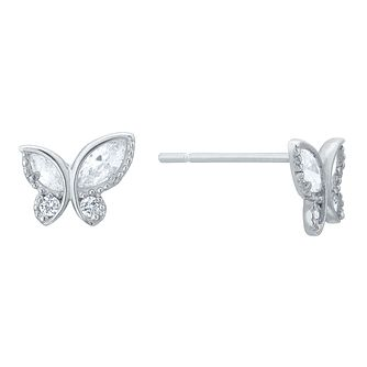 9ct White Gold Cubic Zirconia Butterfly Stud Earrings - Product number 8108633