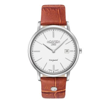 Roamer Vanguard Slim Line Men's Tan Leather Strap Watch - Product number 8108854