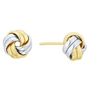 9ct Yellow Gold & White Gold Knot Stud Earrings - Product number 8108889
