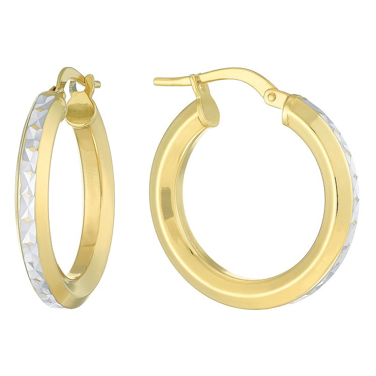 Together Silver & 9ct Bonded Gold Creole Earrings - Product number 8108897