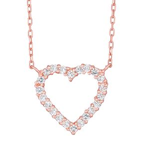 9ct Rose Gold Cubic Zirconia Heart Necklace - Product number 8108935