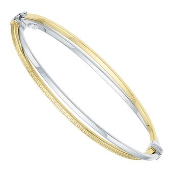 Together Silver & 9ct Bonded Gold Crossed Bangle - Product number 8108951
