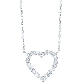 9ct White Gold Cubic Zirconia Heart Necklet - Product number 8109125