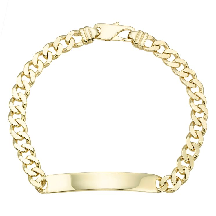 9ct Yellow Gold Men's ID Flat Solid Curb Bracelet - Product number 8109230