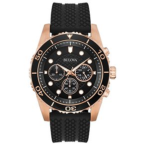 Bulova Men's Black Rubber Strap Chronograph Watch - Product number 8109303