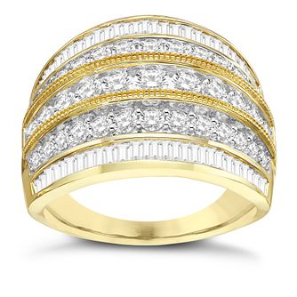 18ct Yellow Gold 1.50ct Diamond Five Row Band - Product number 8109834
