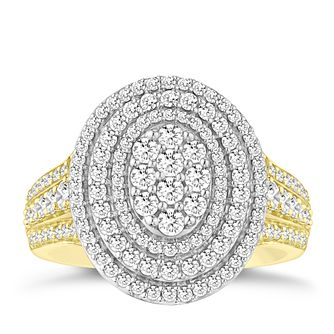18ct Yellow Gold 1ct Diamond Oval Halo Ring - Product number 8109966