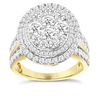 18ct Yellow Gold 2ct Diamond Oval Halo Ring - Product number 8110107