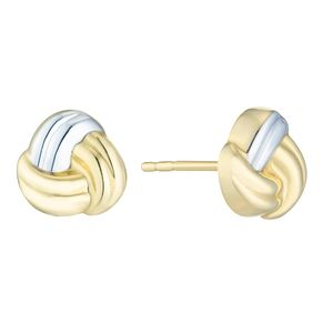 Together Silver & 9ct Bonded Gold Knot Stud Earrings - Product number 8110689