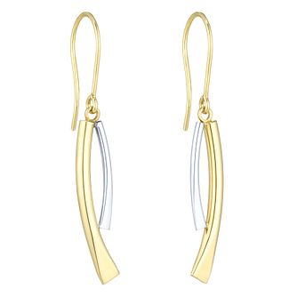 Together Silver & 9ct Bonded Gold Two Colour Drop Earrings - Product number 8110786