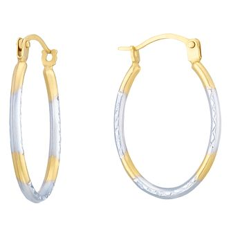 9ct White Gold & Yellow Gold Creole Earrings - Product number 8111022