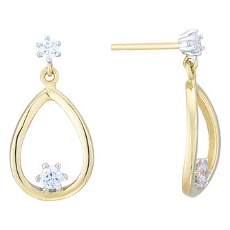 9ct Two Colour Gold Cubic Zirconia Teardrop Stud Earrings - Product number 8111073