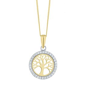 9ct Two Colour Cubic Zirconia Tree of Life Design Pendant - Product number 8111111