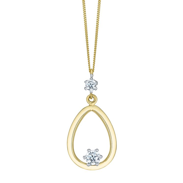 9ct Two Colour Gold Cubic Zirconia Teardrop Pendant - Product number 8111138