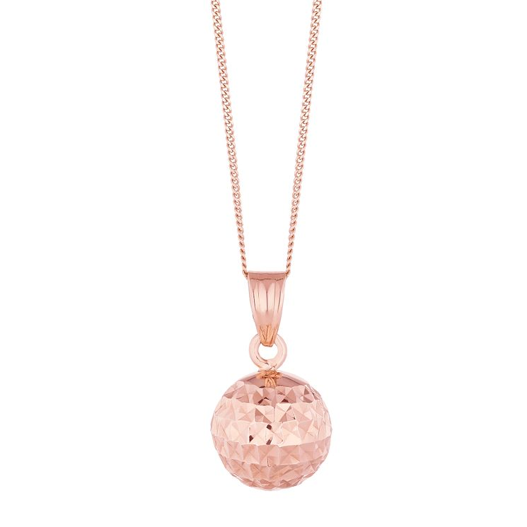 9ct Rose Gold Diamond Cut Ball Pendant - Product number 8111162