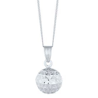 9ct White Gold Diamond Cut Ball Pendant - Product number 8111170
